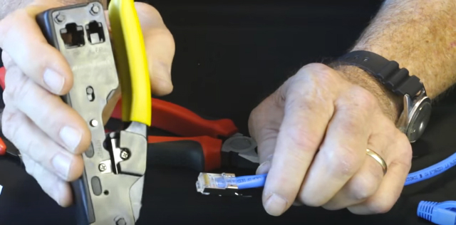 Insert connector into Tele-TitanXg crimp tool and terminate; Note: 10 gig connectors are not compatible with standard modular plug crimp tools.