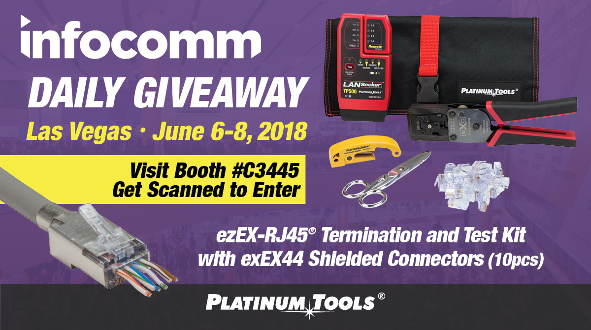 Infocomm 2018 Daily Giveaway Ezex Rj45 Termination And Test Kits Cat6 Jack Wiring Diagram Local Area Network What Am I Doing Wrong Platinum Tools Is Proud To Announce That We Will Give Away Three New Exo During The