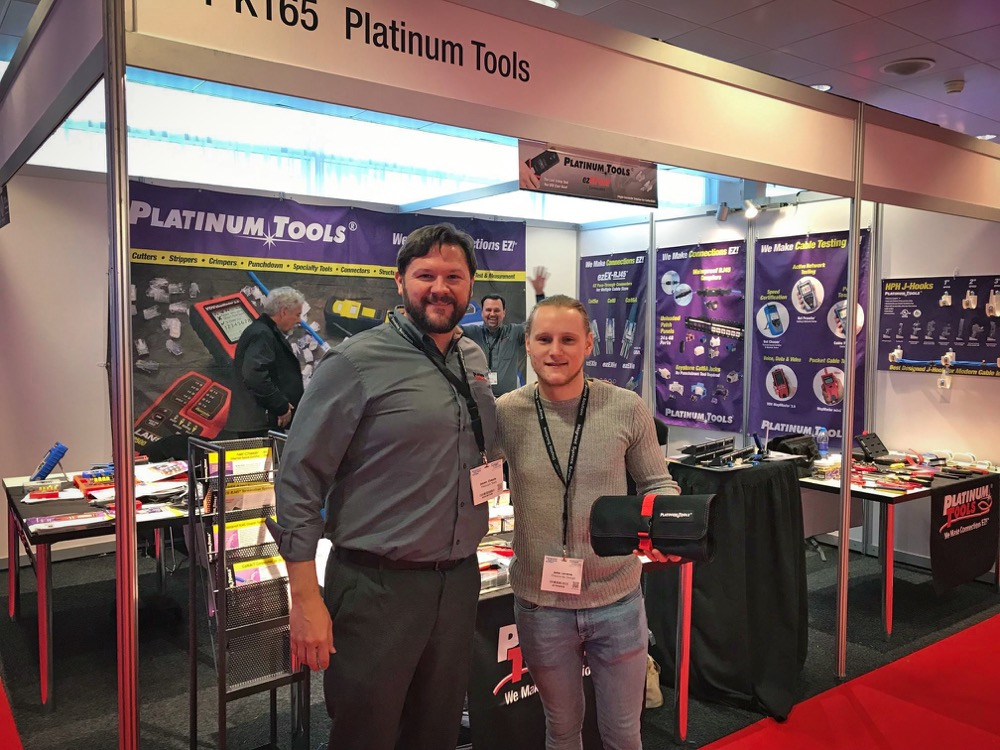Jason with day 3 winner Jake Levene from the UK. Jake was our 500th person that came to our booth. — at Ise 2019.
