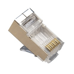 Standard RJ45 (8P8C) Cat5e Shielded, High performance.