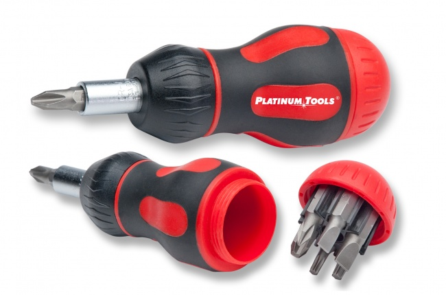 8-in-1 Ratcheted Stubby Screwdriver - Platinum Tools